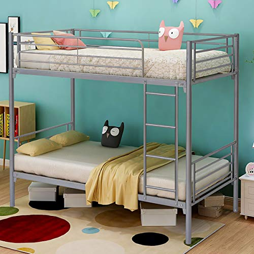 Jurmerry Bunk Beds Metal Frame Twin Over Twin Loft Bed For